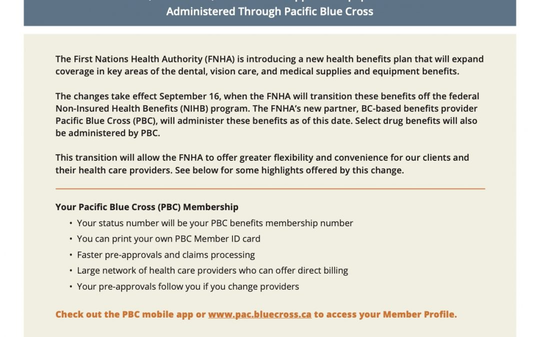 FNHA Benefit Plan with Pacific Blue Cross Effective September 16, 2019